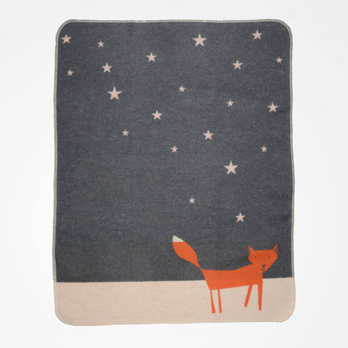 Fox Under The Stars baby Blanket David Fussenegger flat lay.
