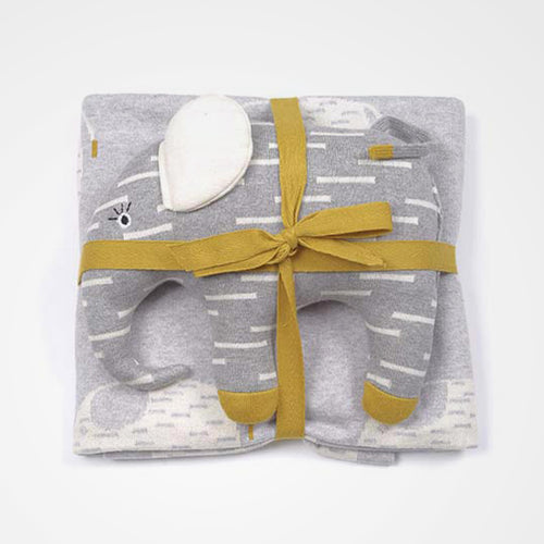 Elephant soft toy and elephant blanket gift set. Perfect for the nursery or kids room and great as a gift.