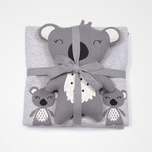 Elephant soft toy and koala blanket gift set. Perfect for the nursery or kids room and great as a gift.