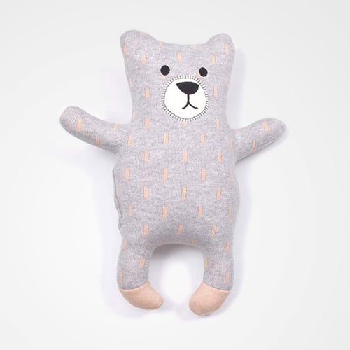Indus soft toy bear in grey and pink. Perfect for the nursery or kids room and great as a gift.