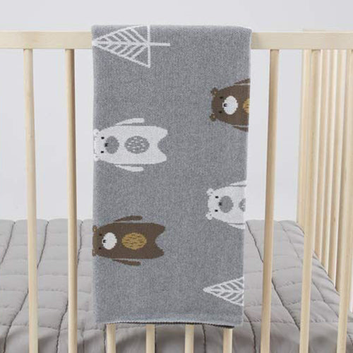 Soft baby or child blanket featuring gorgeous bear design. Perfect for in the nursery or to keep baby warm in the pram.