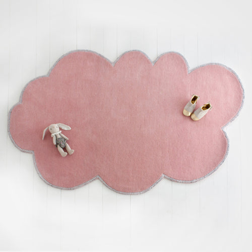 Modern cloud rug, blossom shade with silver sparkle lining, made from NZ wool.