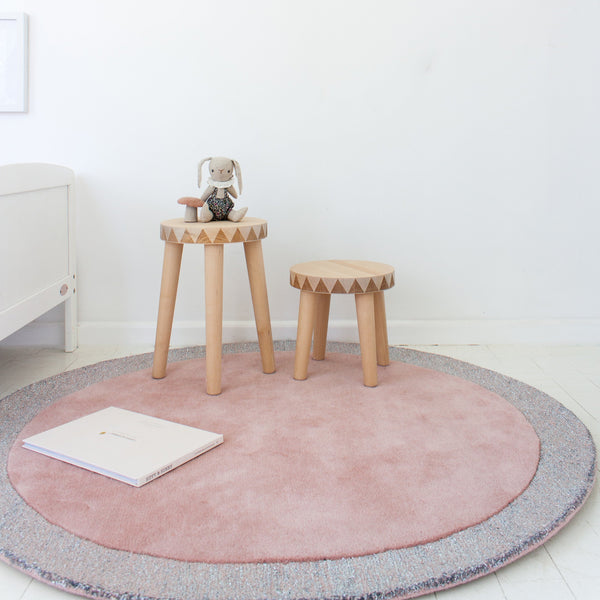 Little P wool rug, perfect for nursery, or play room. Blossom with silver lining is featured.