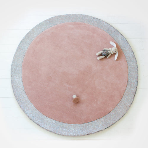 Two toned premium wool rug for nursery or kid's room. Blossom with silver lining featured.