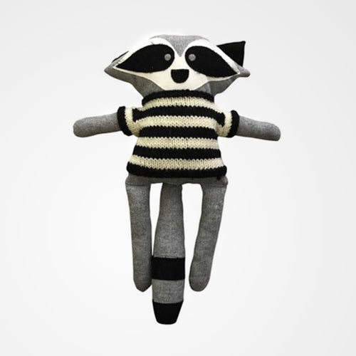 Harry the racoon is a soft modern toy from the Australian designer And The Little Dog Laughed.