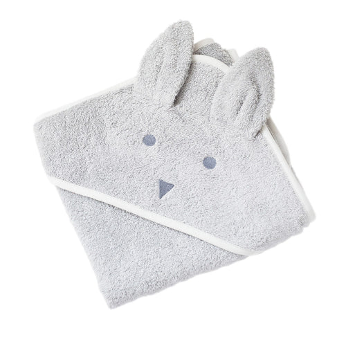 Folded grey hooded baby bunny towel.