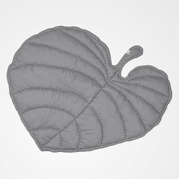 Grey leaf shaped play mat. Perfect for the nursery or as a gift.