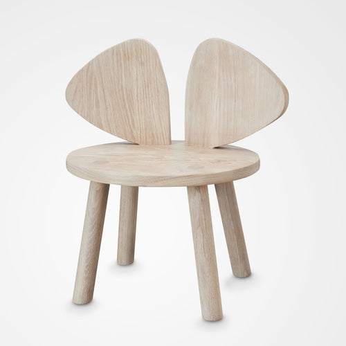 Designer Nofred Mouse chair for kids made from oak (front view).