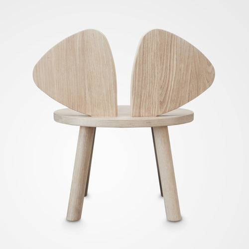 Designer Nofred Mouse chair for kids made from oak (back view).
