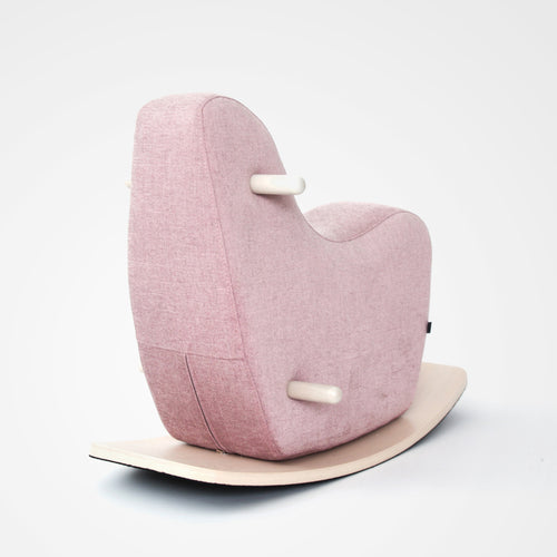 Googy toddler rocking horse pink linen full view.
