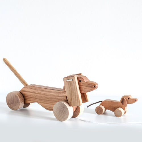 Orskov wooden pull along dog dachshund toy. Nursery decor or child gift.