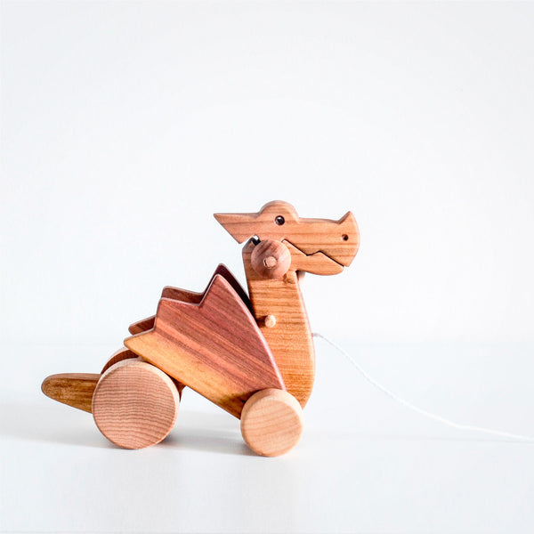 Orskov wooden pull along dragon toy. Nursery decor or child gift.