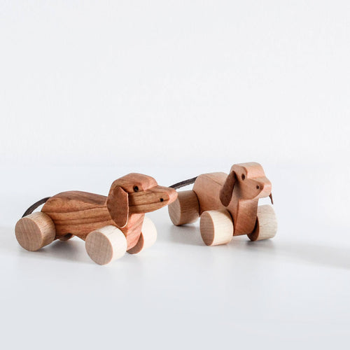 Orskov wooden dachshund dog small. Nursery decor or child gift.