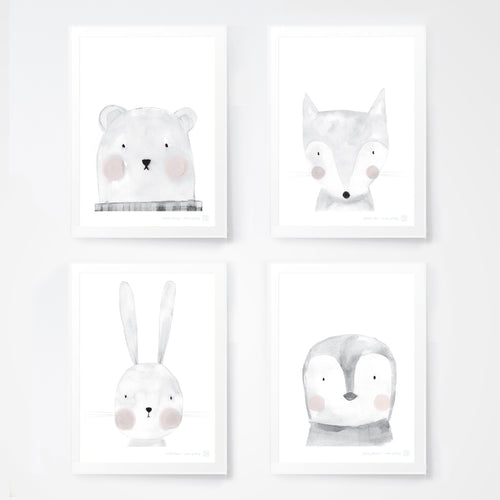 Cute animal prints for kids bedroom or nursery.