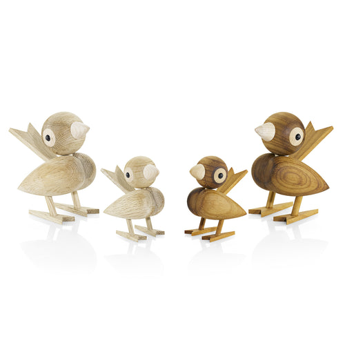 Wooden sparrows in oak or tropical chestnut - great as kids' room decor or child keepsake.