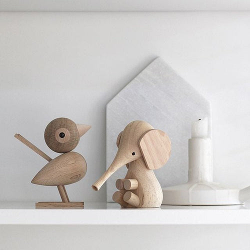 Oak sparrow and baby elephant are both part of Lucie Kaas wooden animal collection that celebrates Danish design.
