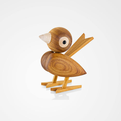 Sparrow made from tropical chestnut is part of Lucie Kaas' wooden animal collection that celebrates Danish design.