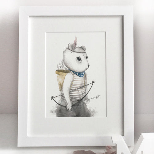 Framed Warrior Bear Nursery Print.