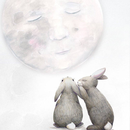 Moon rabbits print for kids room or nursery.