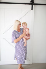 cora navy diamond print house lounge dress breastfeeding maternity nursing bamboo baby pregnancy motherhood
