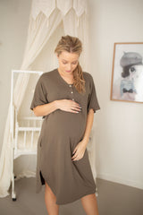 Modern maternity house dresses for the motherhood journey from pregnancy, labour, breastfeeding and beyond. Knox khaki.