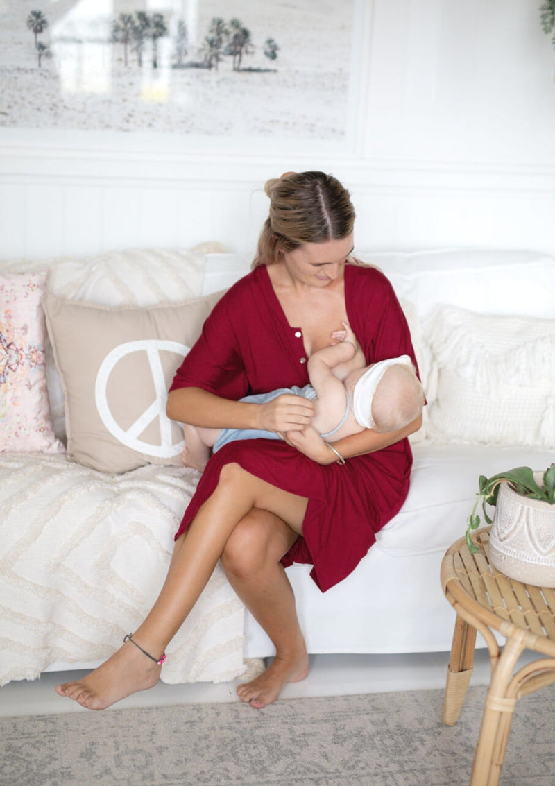 The Comfort Mama dresses for pregnancy,  labour, breastfeeding and beyond. Harper Ruby Maroon Red.