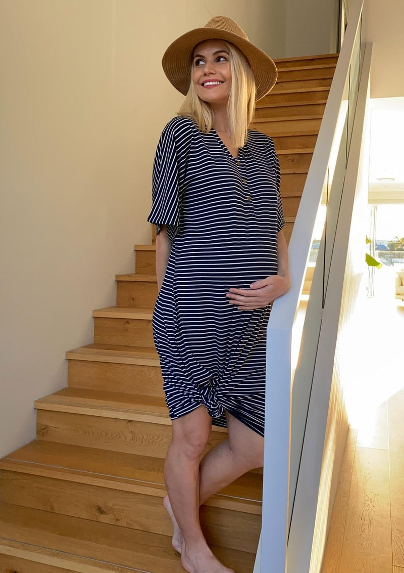 The Comfort Mama dresses for pregnancy,  labour, breastfeeding and beyond. Monaco navy stripe dress.