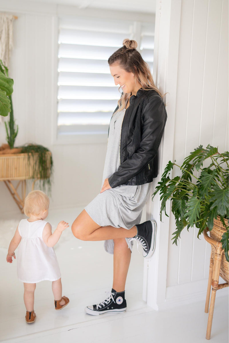 The Comfort Mama for pregnancy, labour, breastfeeding and beyond. Hospital bag. Madden Grey Marle dress.