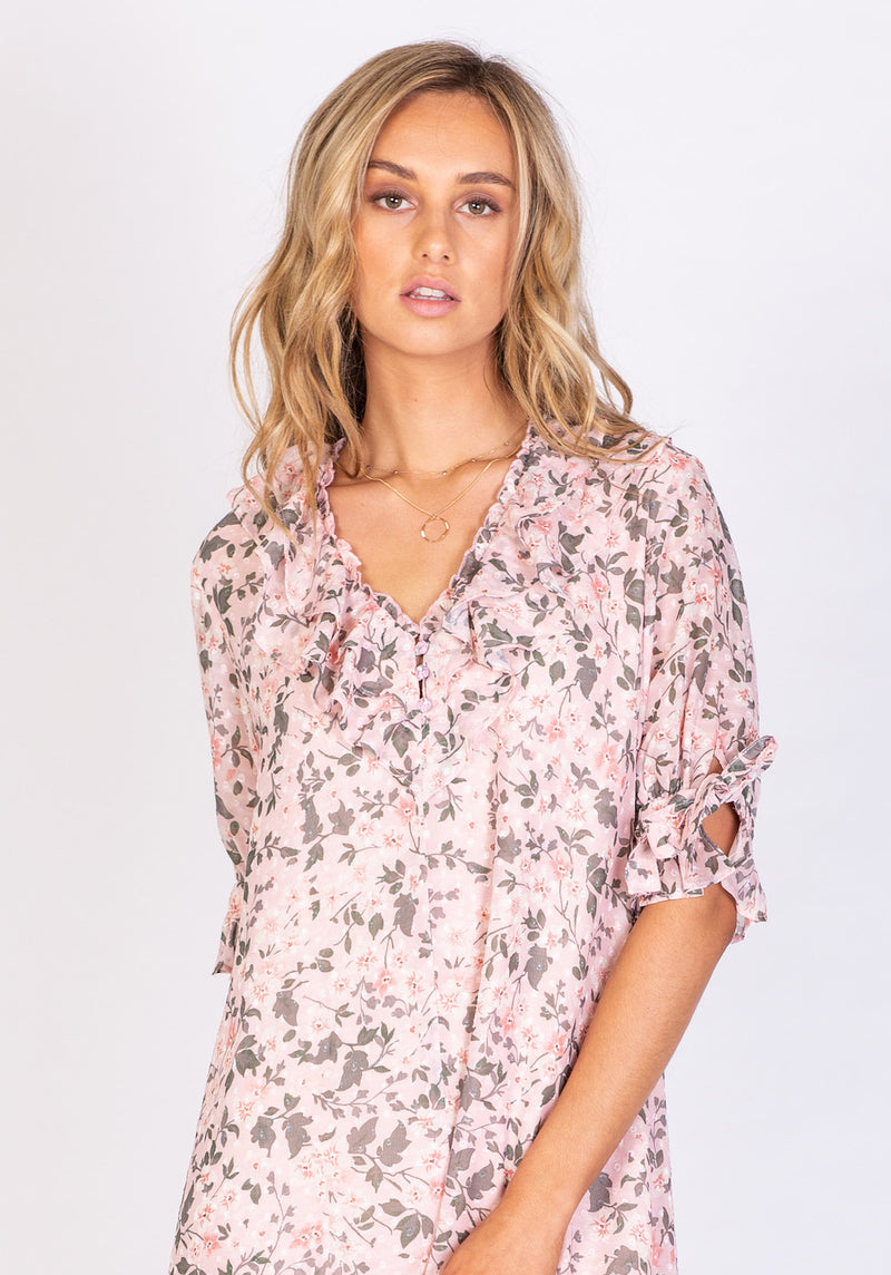 Boardwalk Floral Malibu Dress - Printed Floral Midi Dress by Three of Something