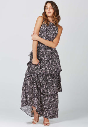 Gia Floral Horoscope Dress | Black Gia Floral