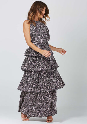 Gia Floral Horoscope Maxi Dress by Three of Something Sydney Australia