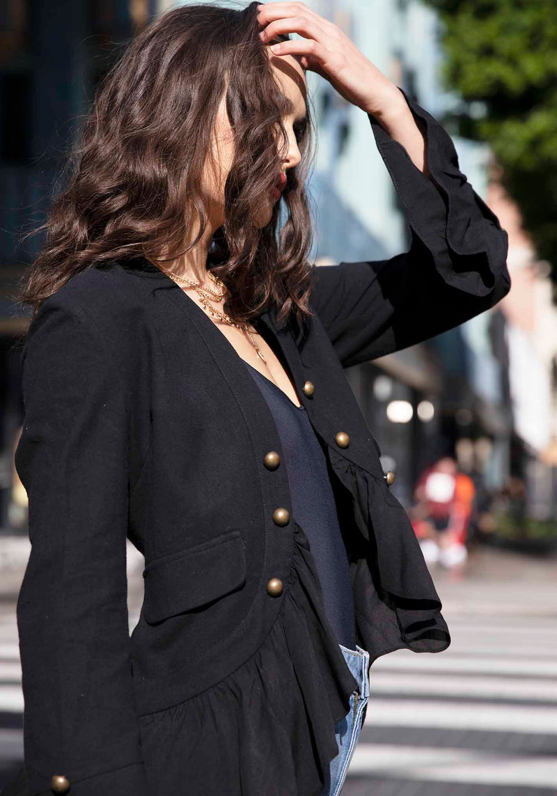 Womens Jacket The Hawking Black High Low Jacket by Three of Something Sydney Australia