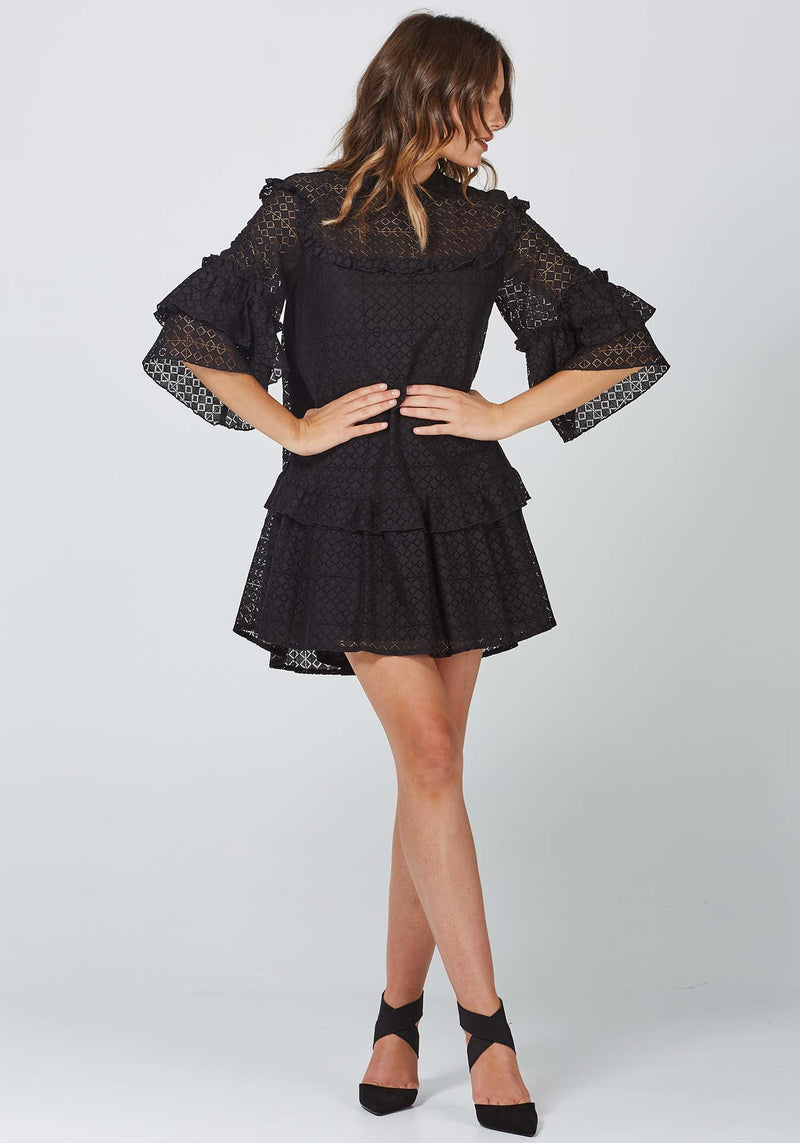 Painted Desert Black Lace Party Dress by Three of Something Sydney Australia