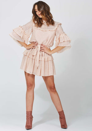 Painted Desert Pink Lace Party Dress by Three of Something Sydney Australia