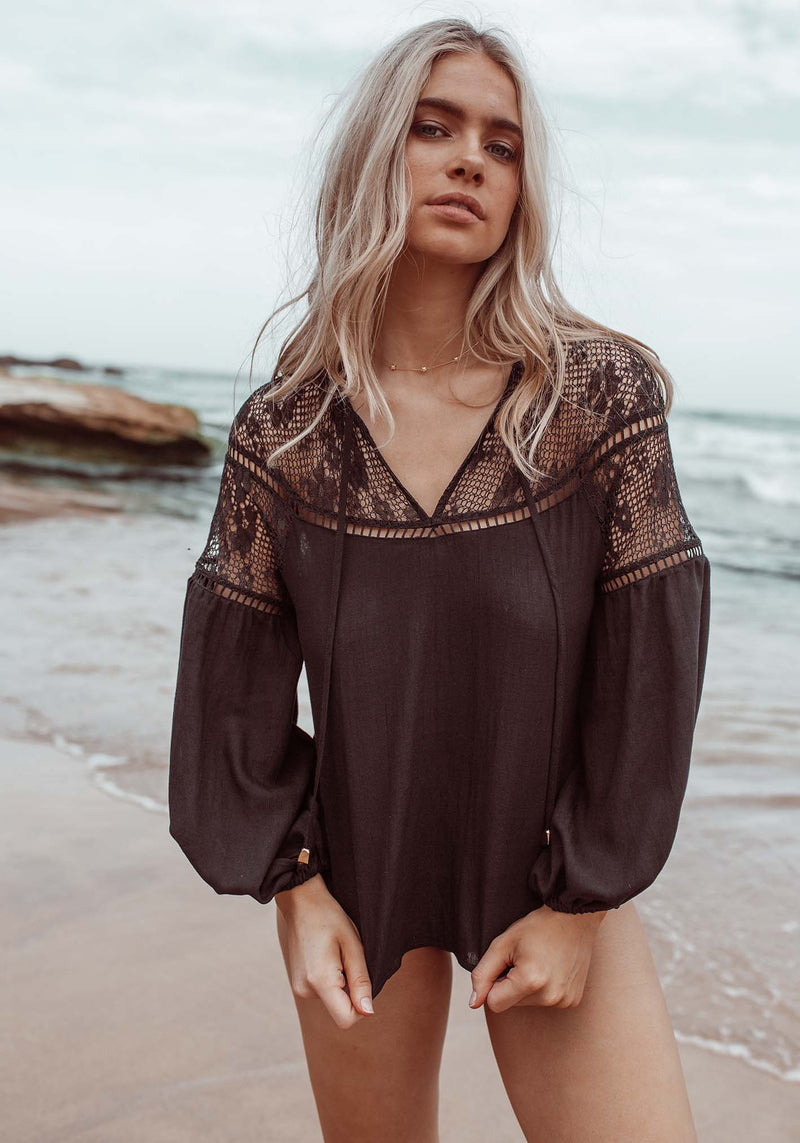 Summer Picnic Black Blouse by Three of Something Sydney Australia
