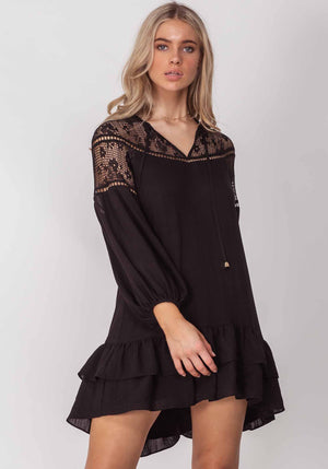 Summer Holiday Black Summer Party Dress by Three of Something Sydney Australia