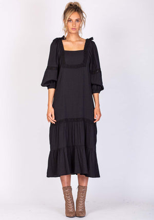 Sunset Black Midi Dress By Three of Something Sydney Australia
