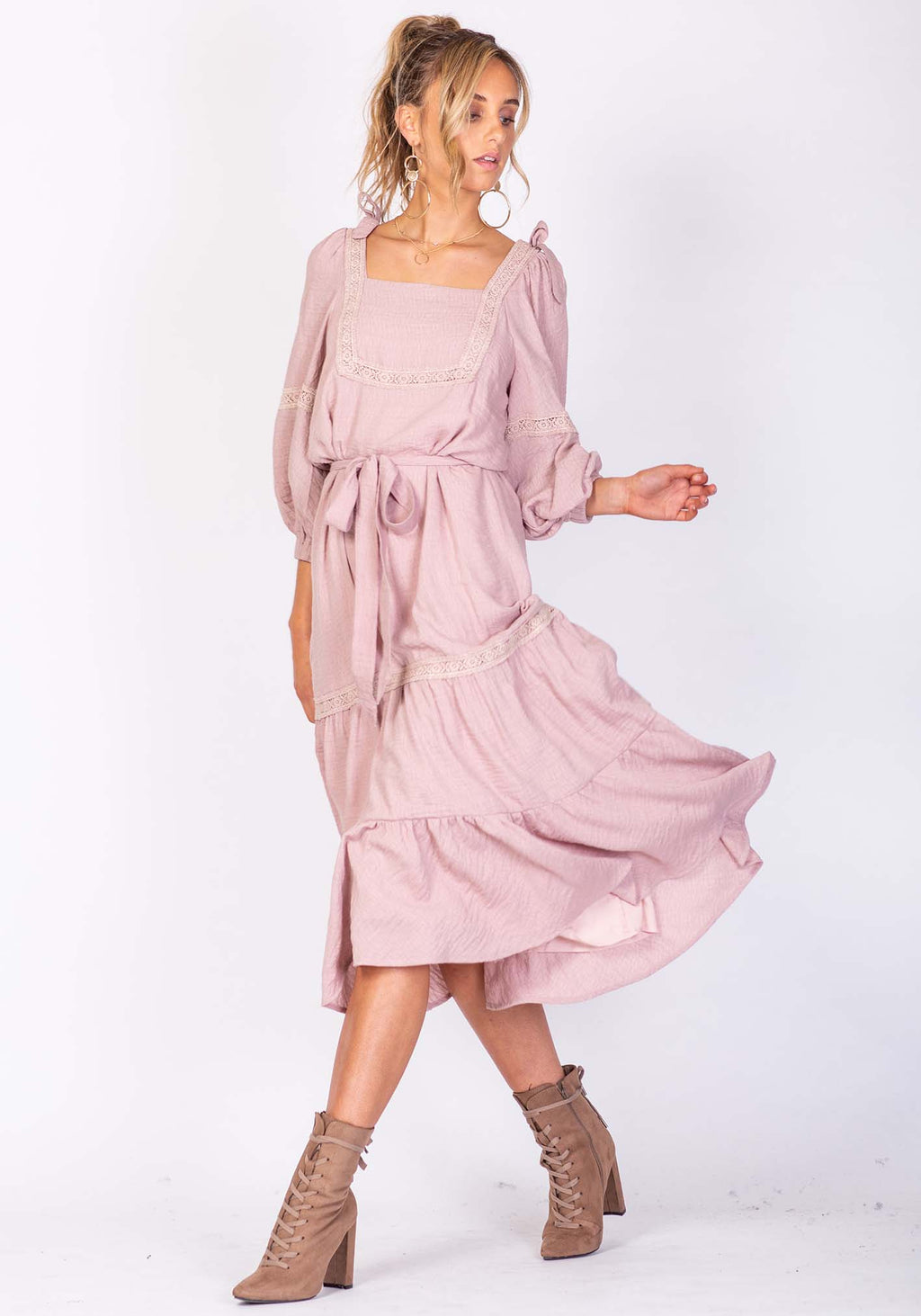 Sunset Pink Midi Dress By Three of Something Sydney Australia