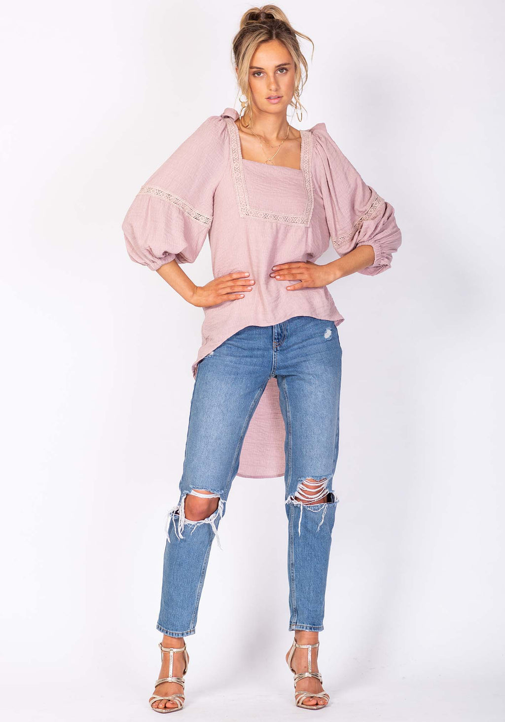 Walk of Fame Pink High Low Blouse by Three of Something Sydney Australia