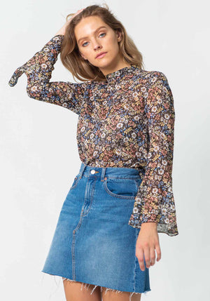 Dark Meadow Floral Kora Blouse | Floral Long Sleeve Blouse by Three of Something Sydney Australia