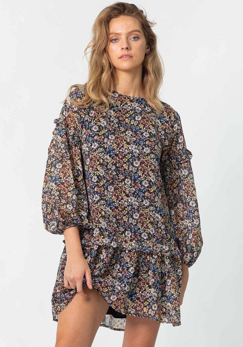 Dark Meadow Floral Logan Party Dress by Three of Something Sydney Australia