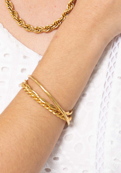 18K Gold Plated Open style cuff bracelet set by Three of Something Sydney Australia