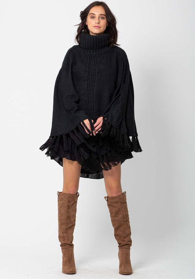 Fireside Women's Black Poncho Knit by Three of Something Sydney Australia