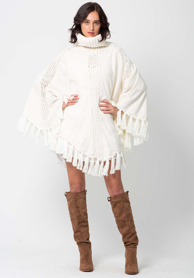 Fireside White Women's Knit Poncho by Three of Something Sydney Australia