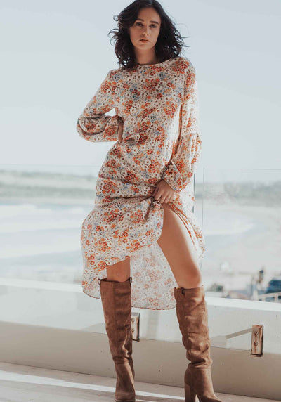 Light Meadow Floral Clovelly Midi Dress | Floral Midi Dress by Three of Something Sydney Australia