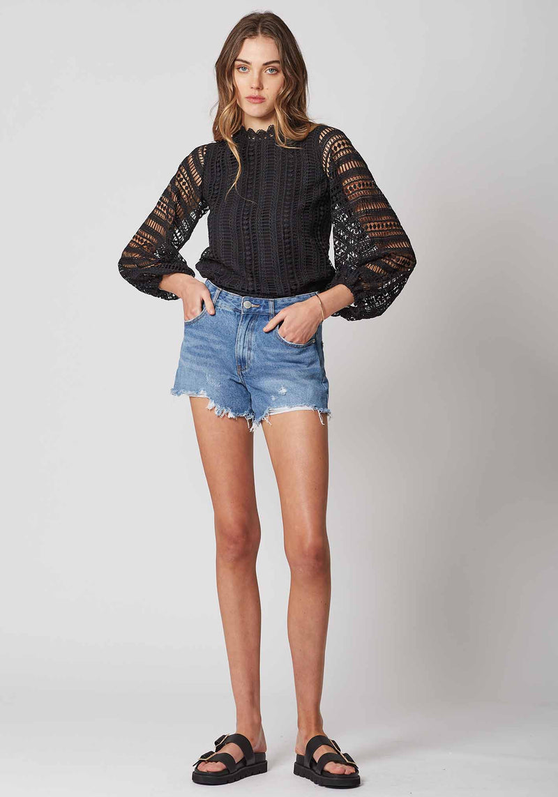 Queenie Black Long Sleeve Lace Blouse by Three of Something Sydney Australia