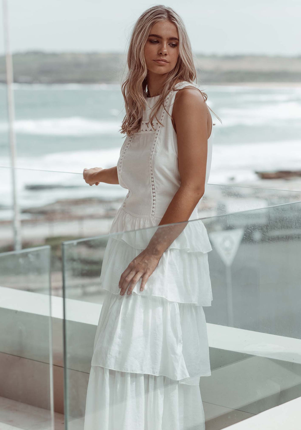 Serendipity White Maxi Dress by Three of Something Sydney Australia
