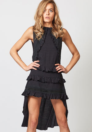 High Tide Black High Low Sleeveless Dress by Three of Something Sydney Australia