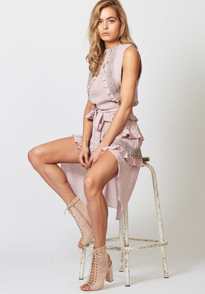 High Tide Pink Sleeveless High Low Dress by Three of Something Sydney Australia