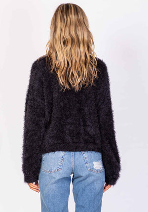 Huckleberry Fluffy Black Jumper by Three of Something Sydney Australia